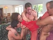 MILF Mandy Bright fucked by 3 dicks in living room