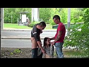 A young skinny girl PUBLIC sex with 2 guys by a highway