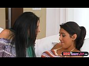 Busty stepmom sits on teen face and shows her how to scissor