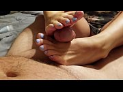 amateur wife gives footjob with baby blue toes.