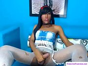 Sexy black shemale in fishnets masturbates