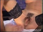 Hot amateur slut in fishnet stockings licked and fucked