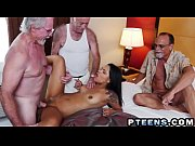 Petite Latina Nikki Kay gets gangbanged by three old perverts