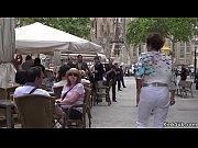 Lezdom in public for Spanish hottie