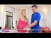 Fitness Rooms Cock hungry blonde Russian MILF deepthroats gym instructor