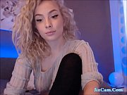 Blonde Curly hair masturbate with vibrator