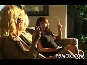 Wild hotties pleasing every other whilst smoking