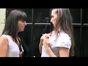 Smoking break with two girls talking about their tits