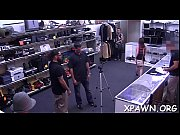 Young woman shows us how that babe has some sex in shop room