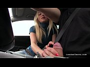 Teen hitchhiker wanks huge dick on the road