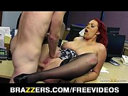 Busty redhead secretary is slammed by the biggest dick she'_s had