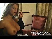 Wild women enjoyable each other while smoking