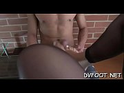 Beauty feet licked in pantyhose