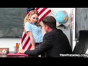 petite blonde schoolgirl seduces her teacher fucks him.