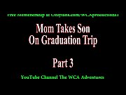 mom takes son on graduation trip.