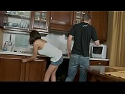 Young guy fucks sexy brunette Madlen on the kitchen floor