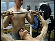 Fervent ass stretching with horny young studs in the gym
