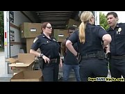 Nasty cops abusing black stud big dick in truck