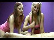 two jerky girls playfully masturbate a lucky man'_s cock