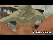 Busty 3D babe sucking on a monsters rock hard cock