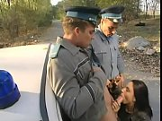 Brunette fucked hard by two policemen
