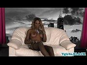 Mature ebony tgirl strokes her fat cock