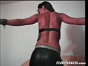 Brunette Strip Show in Leather Pants