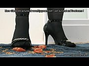 High heels and stockings crushing tomato trample 1
