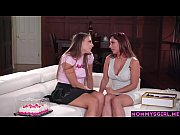 MILF stepmom and stepdaughter teen enjoy in a special day