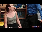Geeky shoplifter chick with glasses caught and fucked