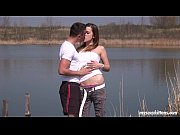 Brunette teen Pascalle gets fucked and jizzed outdoors
