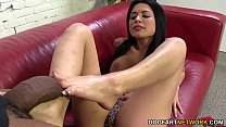 Eva Angelina jerks off BBC with her sexy feet porn image
