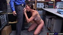 Nervous slender MILF busted and smashed by security thumbnail