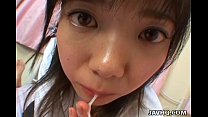 Young japanese teen gives a perfect blowjob and...