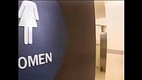 Brunette fucked in public toilet