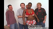 Ghetto Chick Pleases Crowd of White Cocks Image