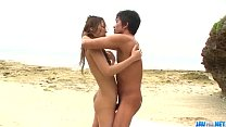 Sex on the beach with young angel Yui Nanase thumbnail