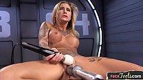 Amazing milf dildo stuffed by sex machine thumbnail