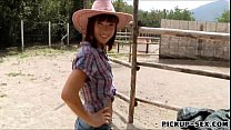 Cute cowgirl Tina Hot flashes her tits and bang...