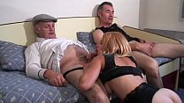 Voyeur Papy fucks nymph in threesome image