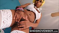 6341 Tiny Black Girl Msnovember Sensual Pussy Squirt , Her Skinny Waist Standing And Turning Her Booty Around Spreading Her Ass Open From Your Point Of View In White Stockings HD Sheisnovember preview