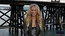 Blue eyed long blonde hair model from Canada strips Thumbnail