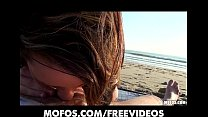 Image: Beautiful brunette amateur sucks and fucks at the beach
