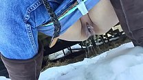 Desperate girl pees outside in the snow after drinking lots of beer thumbnail