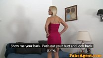 FakeAgent Pretty blonde in a red dress gives a great blowjob preview image