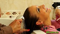 hot eurobabes fully clothed shower sex preview image
