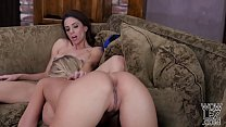 Eva Long and Katie Morgan have lesbian sex on a couch صورة