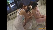 5 Asian Girls In Elegant Dresses Kissing Spitting In The Lounge
