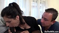 Brunette housewife takes a big black dick in he...