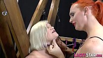 Granny gets pussy licked in les 3way